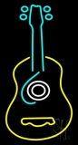 Guitar Logo In Turquoise Red Neon Sign