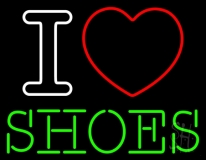 I Love Shoes Heart Logo Neon Sign