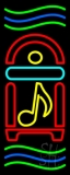Juke Box With Musical Note And Green And Blue Line Neon Sign