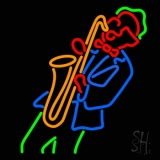 Man Playing Saxophone LED Neon Sign