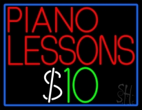 Piano Lessons Dollar Neon Sign