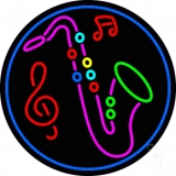 Saxophone With Music Notes LED Neon Sign