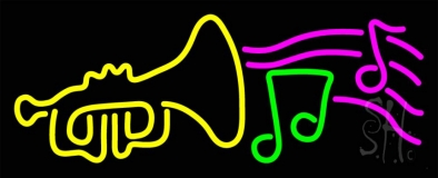Trumpet With Musical Note Neon Sign
