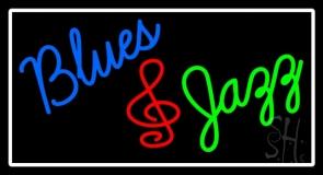 White Border Blues Jazz Neon Sign