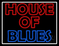 White Border House Of Blues Neon Sign