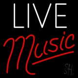 White Live Red Music Neon Sign