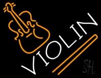 White Violin Neon Sign