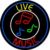 Yellow Live Red Music With Circle Neon Sign