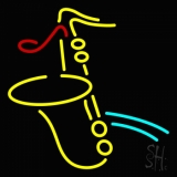 Yellow Saxophone Red Musical Note LED Neon Sign