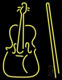 Yellow Violin Logo Neon Sign