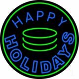Blue Happy Holidays Block Neon Sign