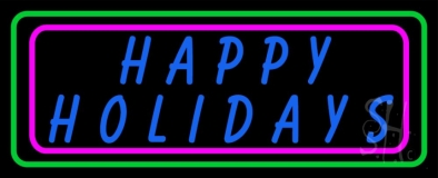 Blue Happy Holidays Block Neon Sign