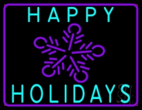 Blue Happy Holidays Neon Sign