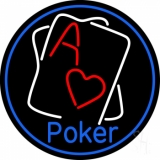 Blue Poker With Cards Neon Sign