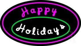 Cursive Happy Holidays Neon Sign