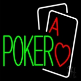 Green Poker With Cards Neon Sign
