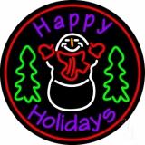 Purple Happy Holidays Snow Man Neon Sign