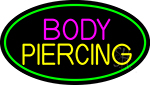 Blue Body Piercing With Green Oval LED Neon Sign