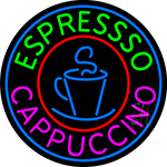 Blue Cappuccino Espresso With Blue Circle Neon Sign