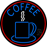 Blue Coffee Cup With Red Circle Neon Sign