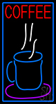 Blue Coffee Glass With Blue Border Neon Sign