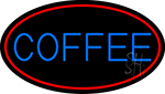 Blue Coffee With Red Oval Neon Sign