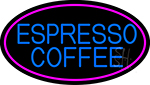 Blue Espresso Coffee With Pink Oval Neon Sign