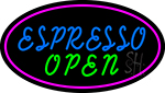 Blue Espresso Open With Pink Oval Neon Sign
