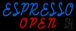 Blue Espresso Open Neon Sign