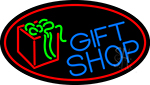 Blue Gift Shop With Red Oval Neon Sign