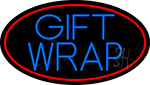 Blue Gift Wrap With Red Oval Neon Sign
