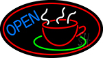 Blue Open Coffee Cup Neon Sign