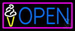 Blue Open Ice Cream Cone Neon Sign
