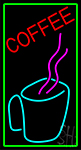 Coffee Cup With Pink Steam Neon Sign