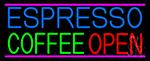 Espresso Coffee Open Neon Sign