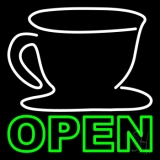 Double Stroke Coffee Cup Open Neon Sign