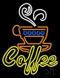 Double Stroke Yellow Coffee Neon Sign