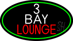 3 Bay Lounge Oval With Green Border Neon Sign
