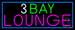 3 Bay Lounge With Blue Border Neon Sign