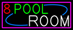 8 Pool Room With Pink Border Neon Sign