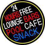 24 Hours Free Lounge Bars Pool Cafe Snack Oval With Border LED Neon Sign