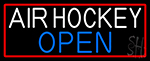 Air Hockey Open With Red Border Neon Sign