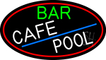 Bar Cafe Pool Oval With Red Border Neon Sign