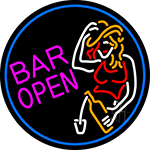 Bar Open With Girl Neon Sign