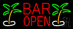 Bar Open With Two Palm Trees Neon Sign