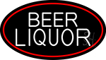 Beer Liquor Oval With Red Border Neon Sign