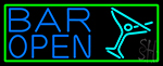 Blue Bar Open With Martini Glass Neon Sign
