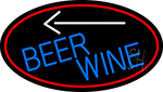 Blue Beer Wine Arrow Oval With Red Border Neon Sign