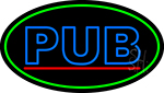 Blue Pub Oval With Green Border Neon Sign