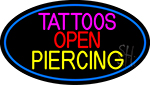 Blue Tattoo Piercing Open Neon Sign